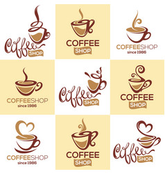 Coffee shop collection of logo template with vector
