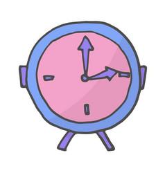 color doodle alarm clock vector image