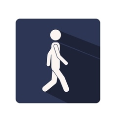 Color silhouette frame with man walking vector