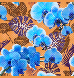 Colorful orchid seamless pattern floral vector