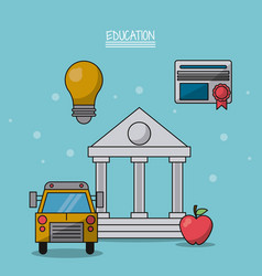 Colorful poster education with parthenon in vector