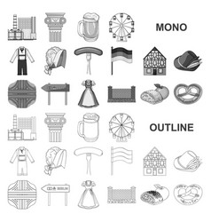 Country germany monochrom icons in set collection vector