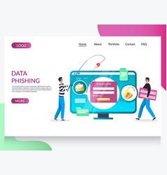 data phishing website landing page design vector image