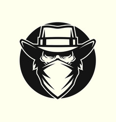 Dead man in mask and cowboy hat in circle vector