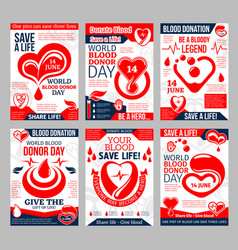 Donate blood poster for world donor day design vector