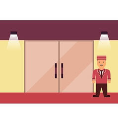 Doorman flat graphic vector