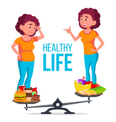 Fat and slim girl on scales with healthy and vector