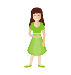 female character in green dress and shoes isolated vector image