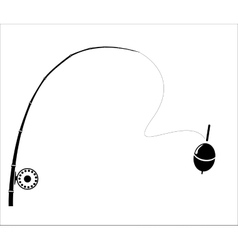 Fishing rod on the white backdrop vector