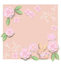 floral card template with blank or empty field vector image
