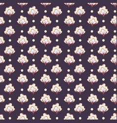 floral cotton field in retro colors with dots vector image