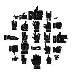 gesture icons set simple style vector image