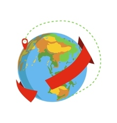 Globe With Red Arrow Going Around And Marked vector image vector image