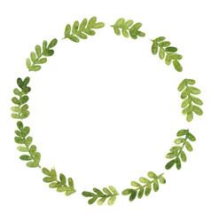 green fern leaves wreath watercolor vector image