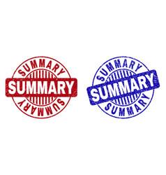 Grunge summary scratched round stamp seals vector