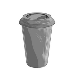hand drawn sketch disposable cup in gray color vector image