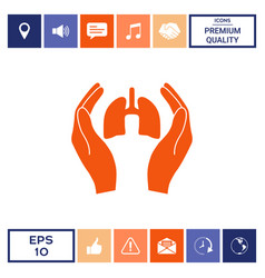 Hands holding lungs - protection icon vector