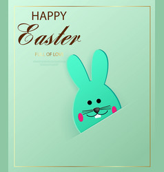 happy easter easter bunny looking at the green vector image