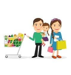 Happy family shopping vector