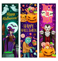 happy halloween banners with monsters and sweets vector image