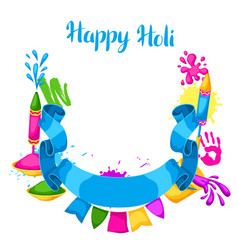 happy holi colorful frame of buckets vector image