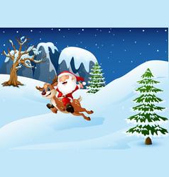 Happy santa claus riding a vector