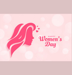 Happy womens day poster design with woman face vector