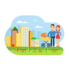 Happy Young Family with Baby on City Landscape vector