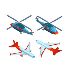 Helicopters isometric 3d pictures of avia vector