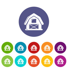 Horse barn icons set color vector