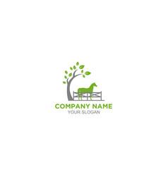 Horse fence logo design vector