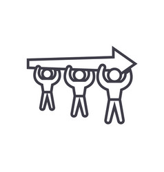 human resources power men with arrow line vector image