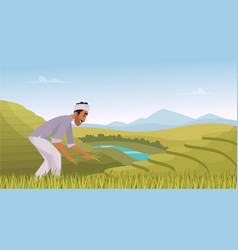 indian agriculture landscape farmer working in vector image