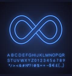 Infinity neon light icon vector