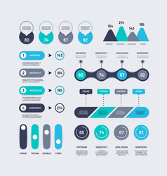 infographic elements bar graphs timelines circle vector image