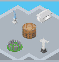 isometric travel set of athens rio england vector image vector image