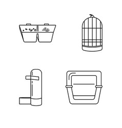 line icon set accessories for bird in cage vector image