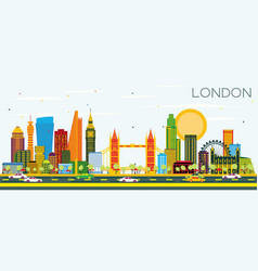 London skyline with color buildings and blue sky vector