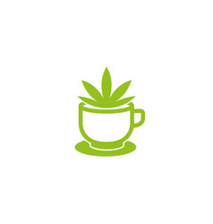 Marijuana inside a cup of coffee for logo design vector