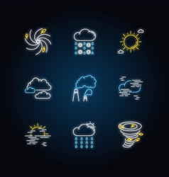 Meteorology neon light icons set vector