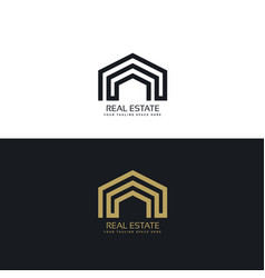 Minimal line real estate logo design concept vector