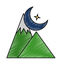 Mountains camp with moon vector