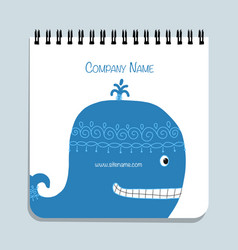 notebook design blue whale vector image