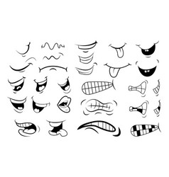 outline cartoon mouth set tongue smile teeth vector image