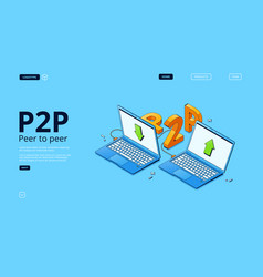 p2p network banner peer to peer connection vector image