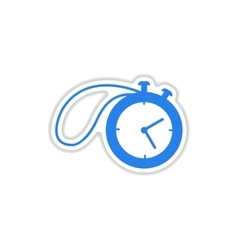 paper sticker on white background stopwatch vector image