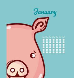 Pig and calendar cartoon concept vector