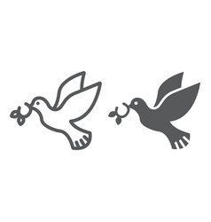 pigeon line and glyph icon bird and symbol dove vector image