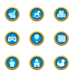 playing sequence icons set flat style vector image