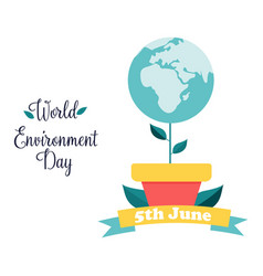 poster for world environment day with globe plant vector image